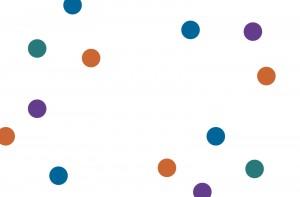 An assortment of blue, orange, purple and green spots. Very artful.