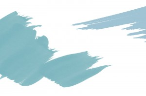 Green and blue brushstrokes on a white background