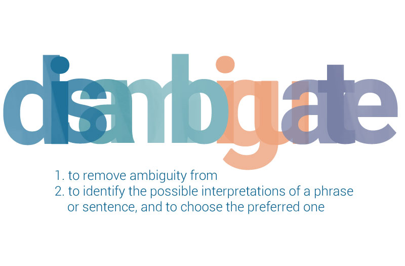 Disambiguate means to remove ambiguity from, or to identify the possible interpretations of a phrase or sentence, and to choose the preferred one. It's an essential practice for writers and editors alike.