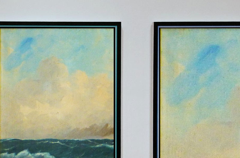 Two paintings with the same scene of sea and sky in distant and detailed view