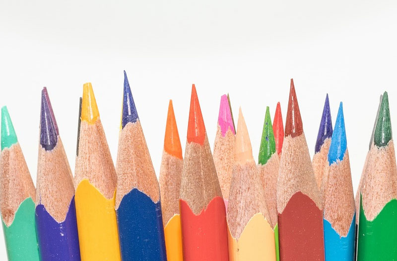Sharpened pencils in a row - so many colours to choose from