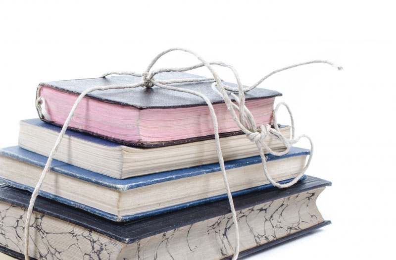 Stack of journals, tied with string