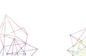 Coloured geometric forms on a white background