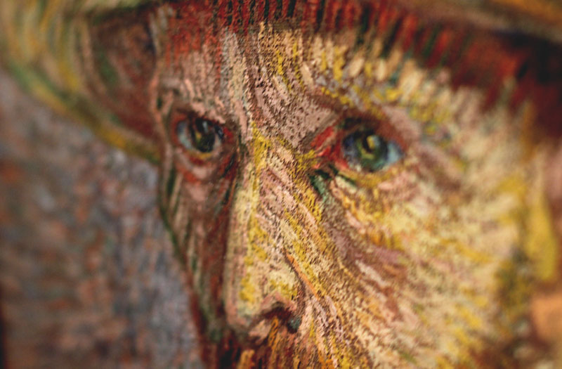 Close up of portrait of Vincent van Gogh