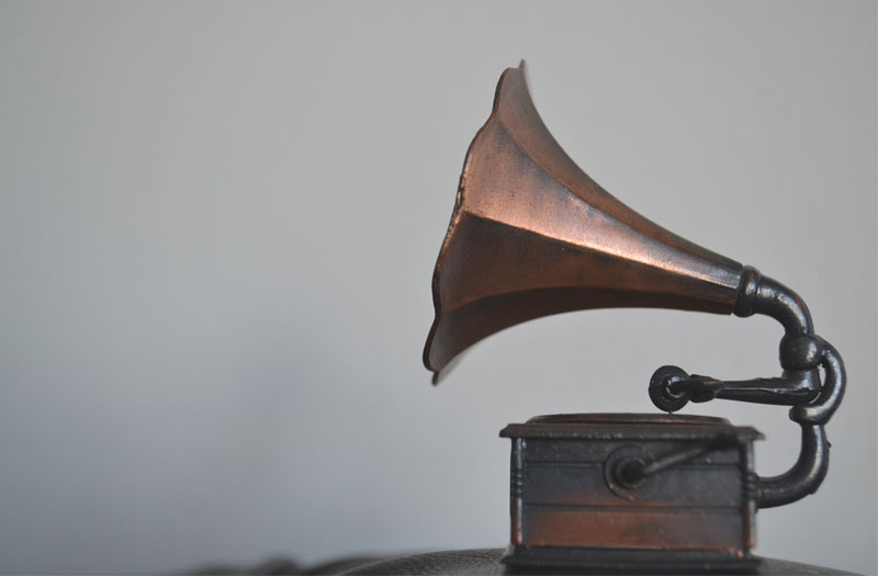 An old-fashioned gramophone