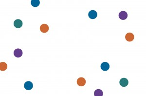 An assortment of blue, orange, purple and green spots. Very artful.
