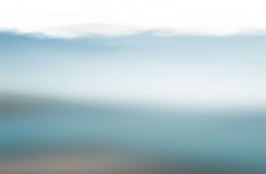 Artful blur of blue and white