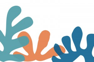Curvy abstract shapes in teal, orange and blue