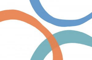 Brush stroke circles in blue, orange and teal